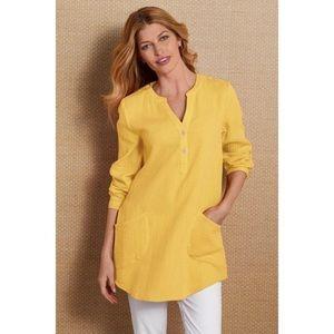 Soft Surroundings 100%Cotton Yellow Pullover Tunic
